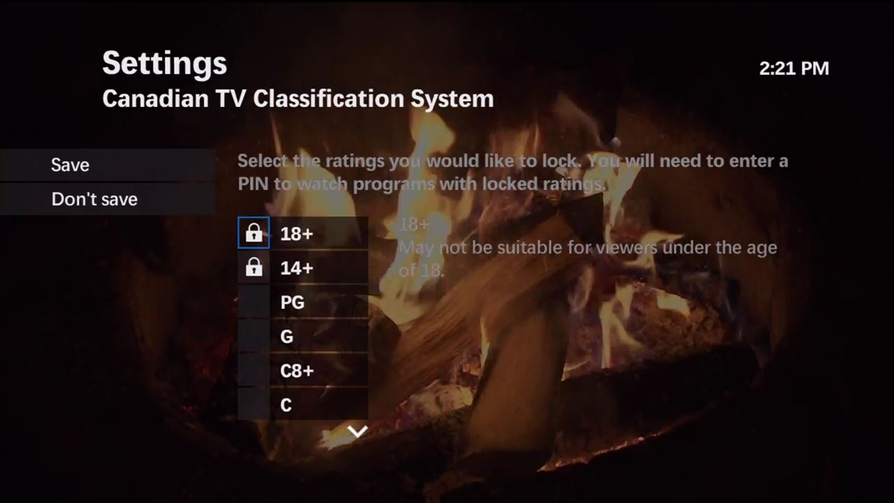 Locking programming by channel or rating on maxTV