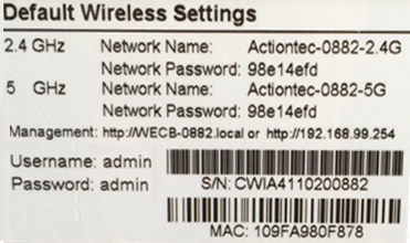 Your gateway information (default password, network name, and serial