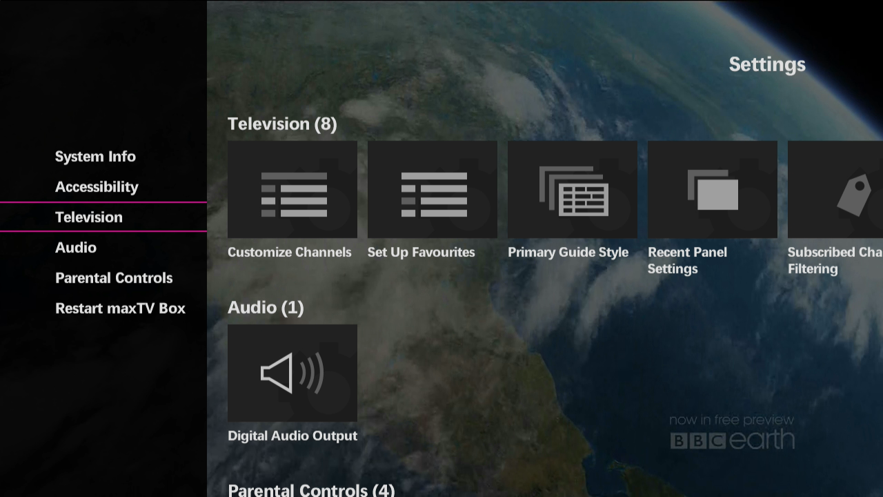 Hiding and showing channels on the Guide on maxTV