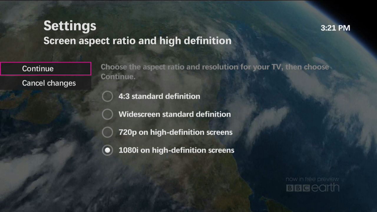 Setting the picture size (aspect ratio) for your TV type
