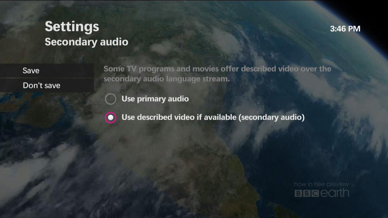 Turning on Described Video (DV) (secondary audio) on maxTV