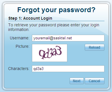 email address and password: