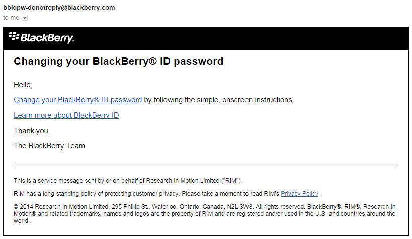 Blackberry Password Reset Email Password Reset Email
