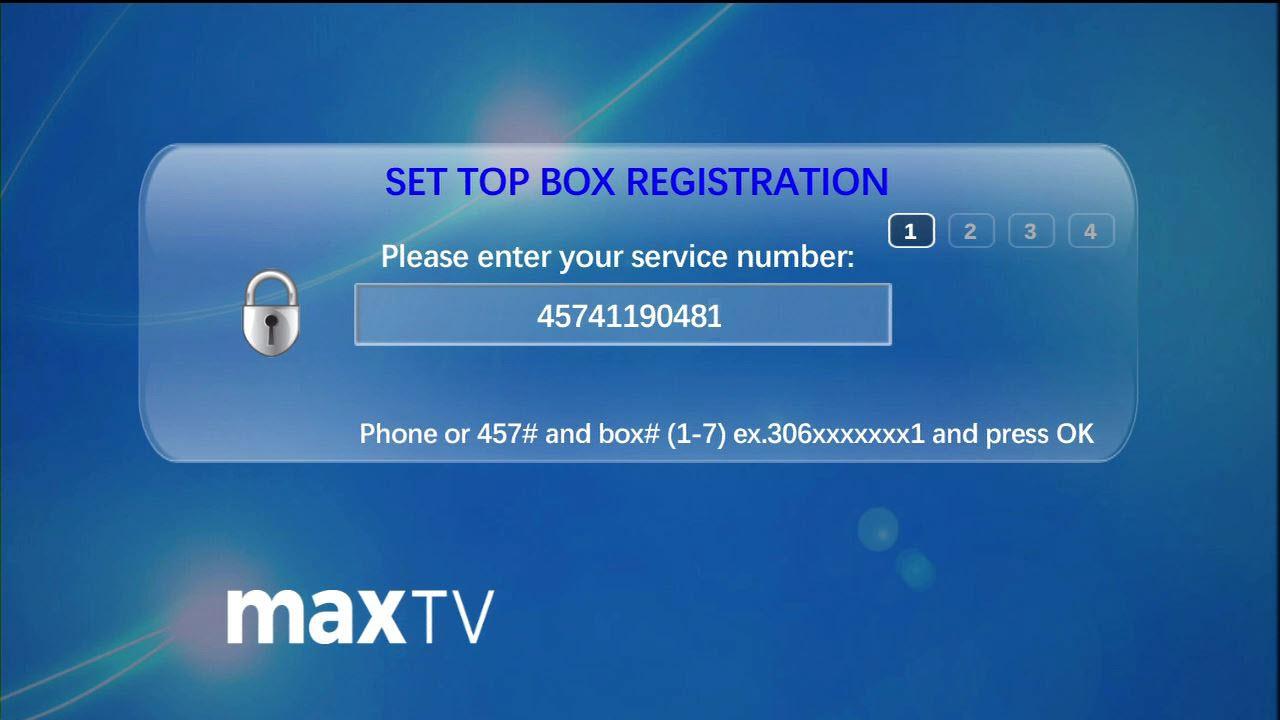 Registering your maxTV set-top box