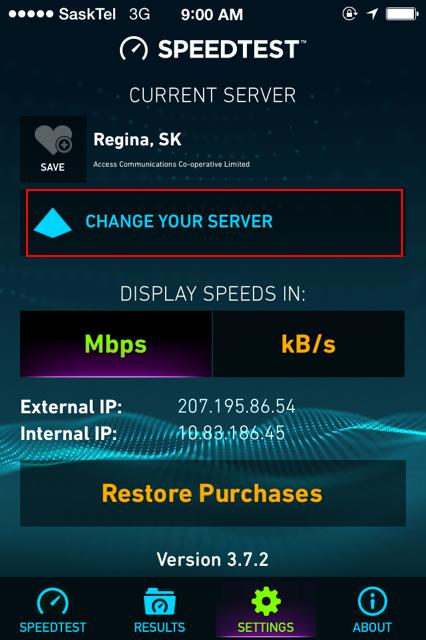 sasktel internet speed test