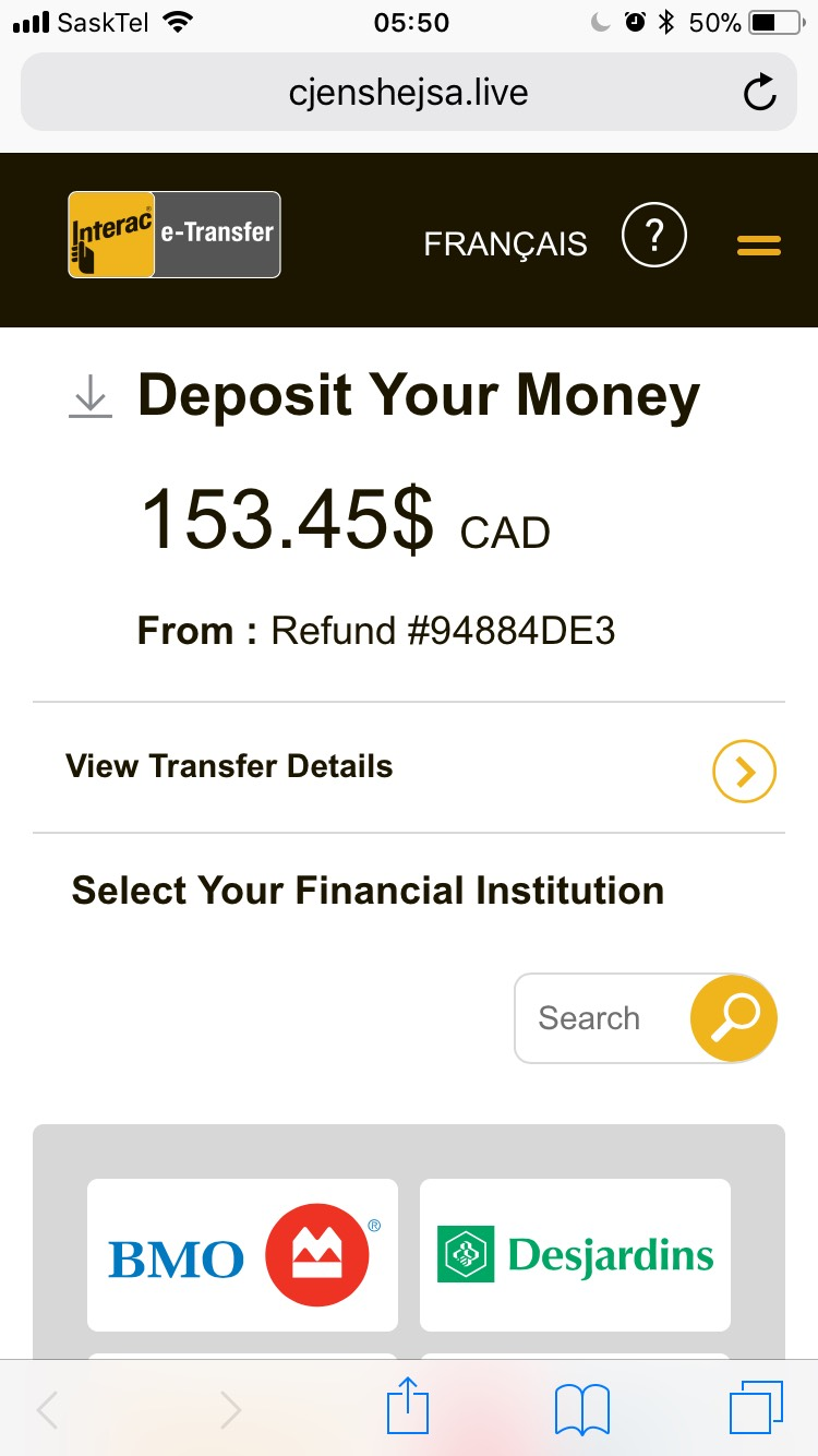Phishing Text Message Deposit Your Money