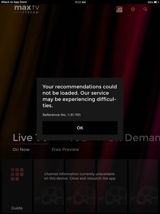 Known bugs with the maxTV app