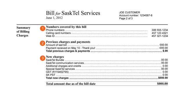 Understanding your SaskTel bill or eBill