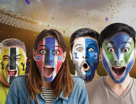 sports fans with painted faces