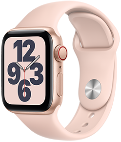 Apple Watch SE (GPS + Cellular), 40mm Gold Aluminum Case with Pink Sand Sport Band