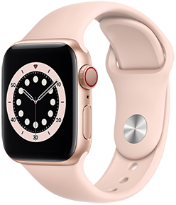 Apple Watch Series 6 (GPS + Cellular), 44mm Gold Aluminum Case with Pink Sand Sport Band