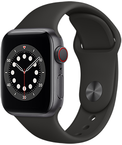 Apple Watch Series 6 (GPS + Cellular), 44mm Space Grey Aluminum Case with Black Sport Band