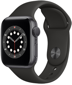 Apple Watch Series 6 GPS, 44mm Space Grey Aluminum Case with Black Sport Band