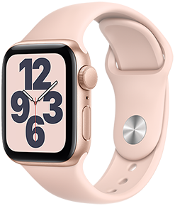 Apple Watch SE GPS, 40mm Gold Aluminum Case with Pink Sand Sport Band