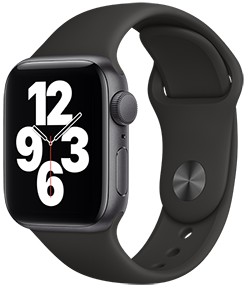 Apple Watch SE GPS, 40mm Space Grey Aluminum Case with Black Sport Band