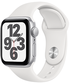Apple Watch SE GPS, 44mm Silver Aluminum Case with White Sport Band