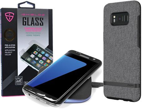 screen protector, wireless charger, and case